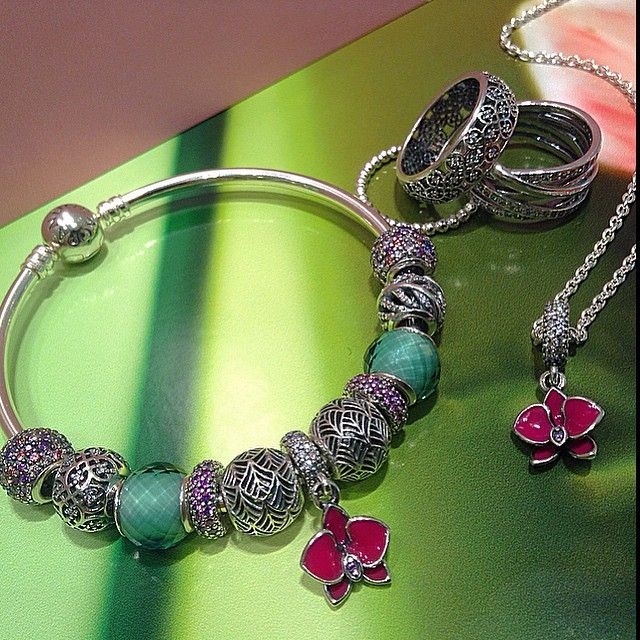 Pandora Jewelry Collection: Pandora Bracelet Tropicana Charms And Orchid Dangle So