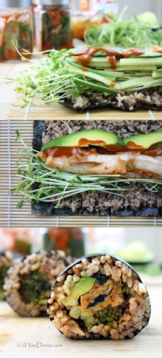 Kimchi Avocado Roll with Spicy Dipping Sauce | cHowDivine.com {Simple and healthy way to enjoy rolls at home.  Can be made with brown rice or quinoa.}