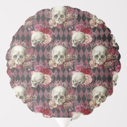 Skulls with Roses and Pink Purple Checkered Balloon   Zazzle.com