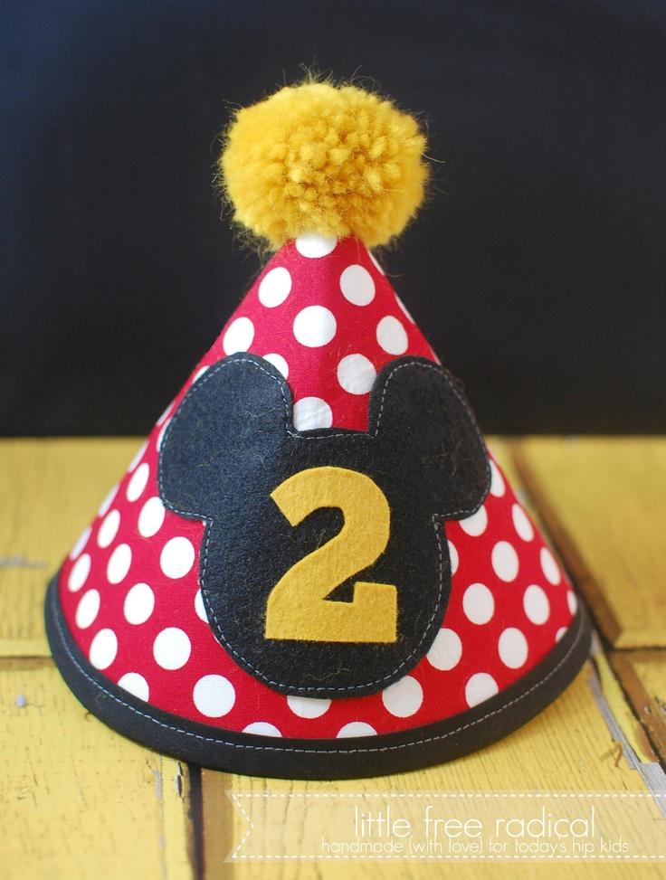 CUSTOM Mickey Mouse Fabric Birthday Hat. $20.00, via Etsy.