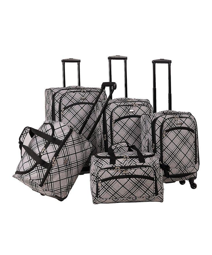 Silver Stripe Five-Piece Spinner Suitcase Set