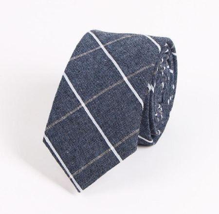 Modern Denim Style Blue White Striped Tie