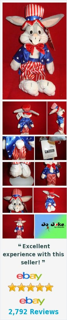 "WARNER BROS STORE-STARS&STRIPES BUGS BUNNY BEAN PLUSH UNCLE SAM SUIT-10""-NEW/TAG"