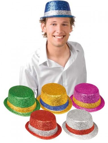 Glitter Plastic Trilby Hats, Packs of 6, Assorted Colours