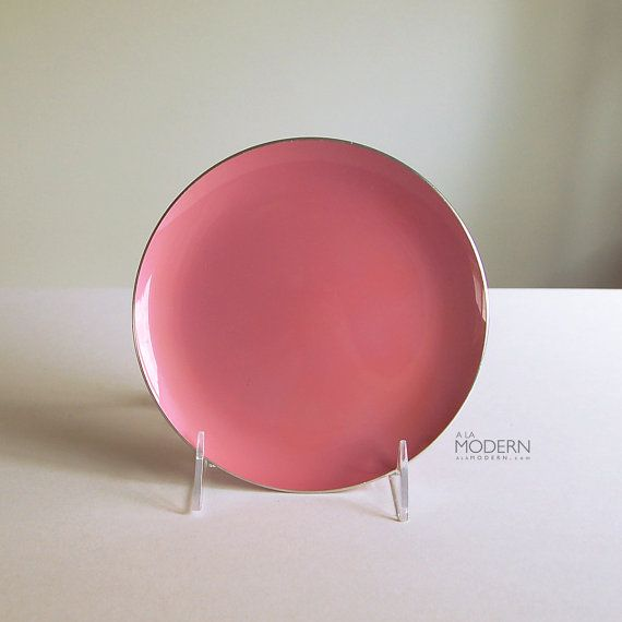Emalox Norway Pink Enamel Plate Medium Size by alamodern on Etsy - SOLD!