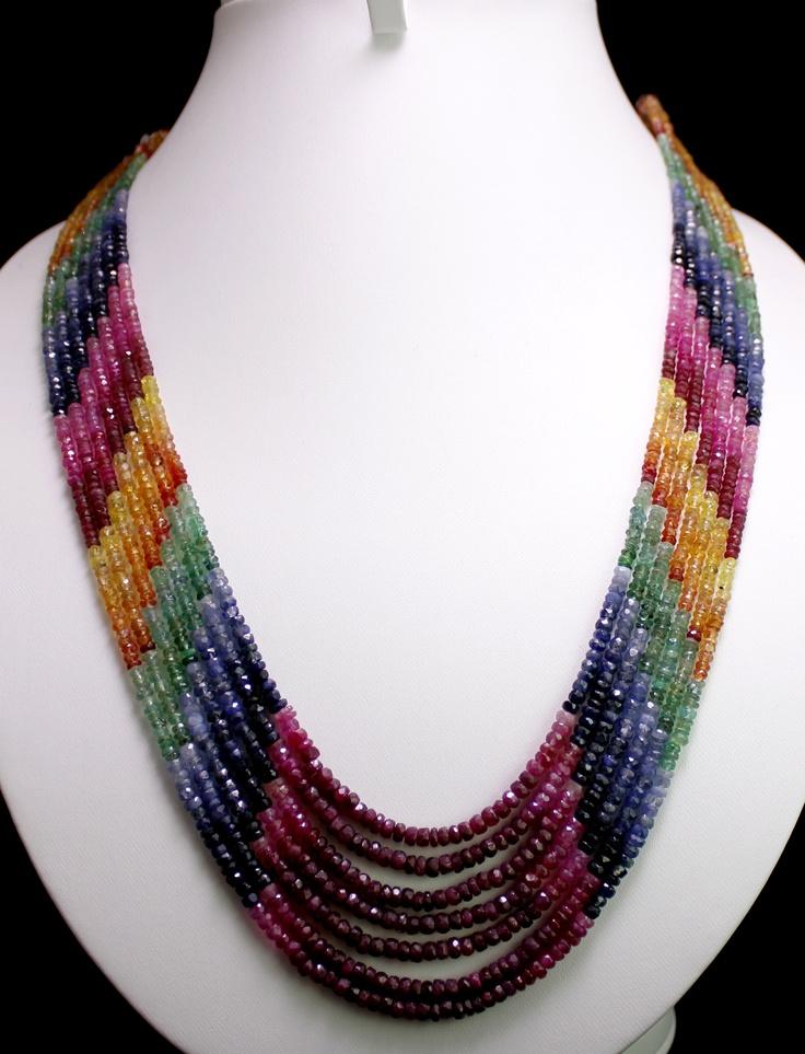 Natural Ruby,Emerald & Sapphire Beads Necklace (kgr371ct),for further details,visit us at www.krishnagemsnjewels.com