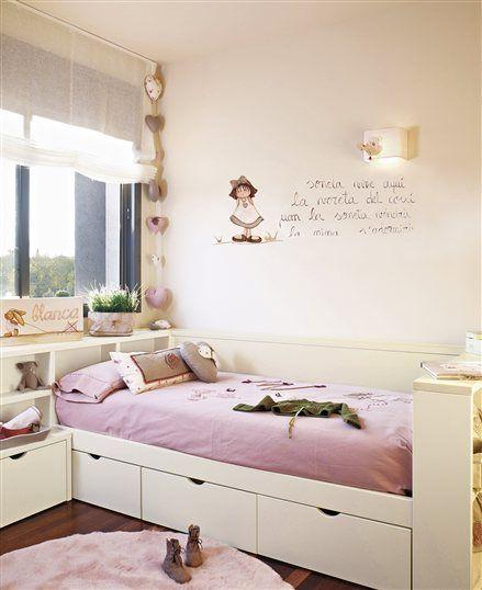 Dormitorio de ni a con poema en la pared dormitorios for Bona nit muebles