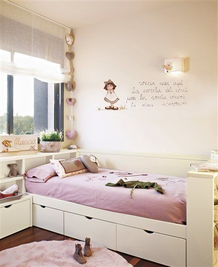 Dormitorio de ni a con poema en la pared dormitorios - Dormitorio infantil nina ...