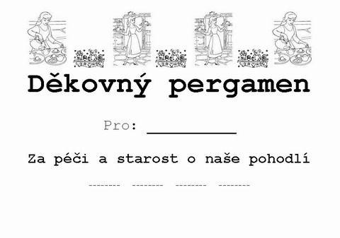 Diplom - skřítci a strašidýlka - děkovný pergamen za péči