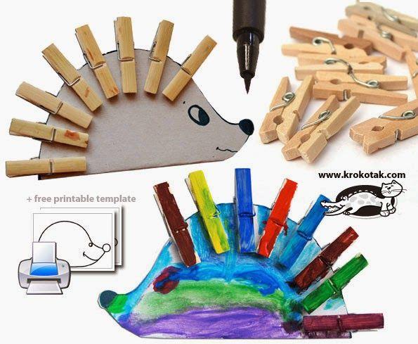 Sempre criança: OURIÇO     http://krokotak.com/2013/04/clothespin-...