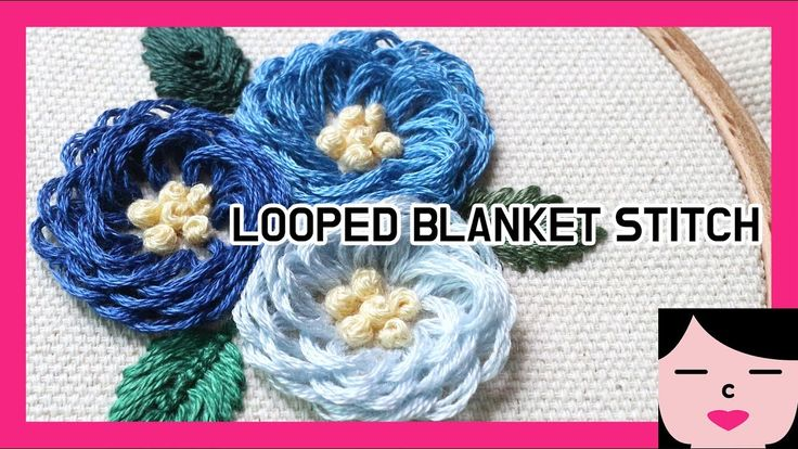 looped blanket  stitch  flower embroidery 루프드 블랭킷 스티치 꽃자수