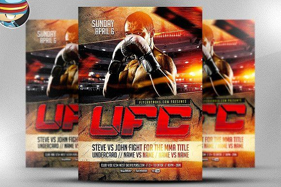 Ufc Style Fight Night Flyer Template  Flyer Template And Template