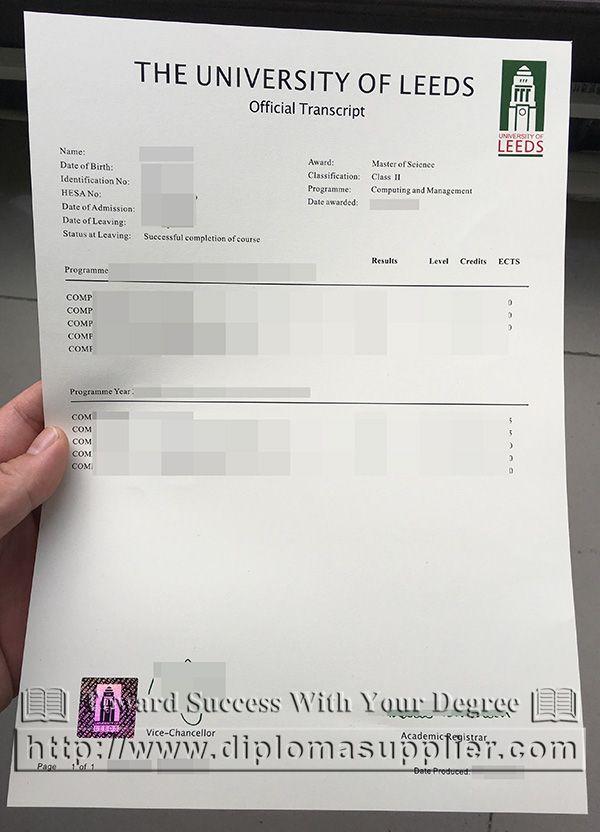Order The University Of Leeds Academic Transcript