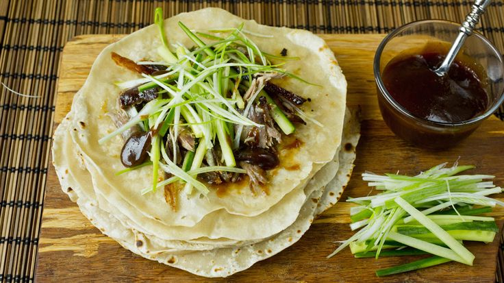 Crispy duck: Små pannekaker med sprøstekt and à la Pekingand