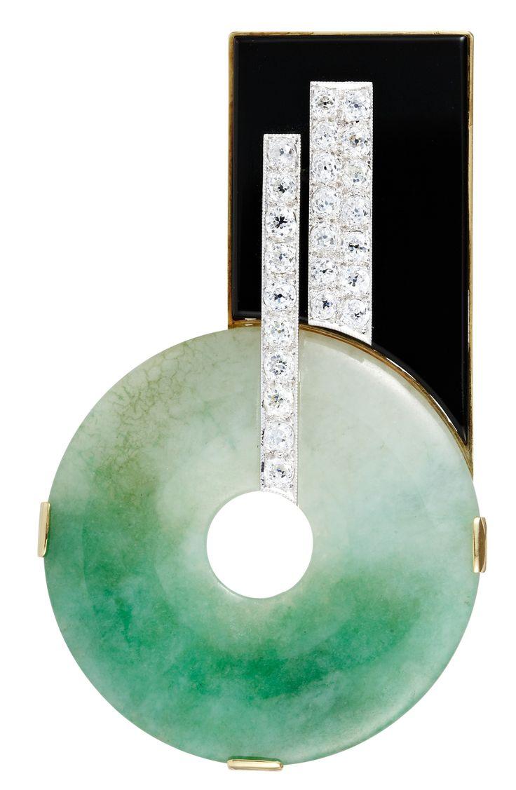 Nigel Milne Jade Onyx And Diamond Brooch
