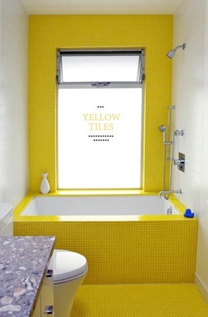 yellow tiles: Interior, Color, Bathroom Idea, De Bain, Yellow Bathrooms, Tile Bathroom, Yellow Tile, Sunny Yellow, Room