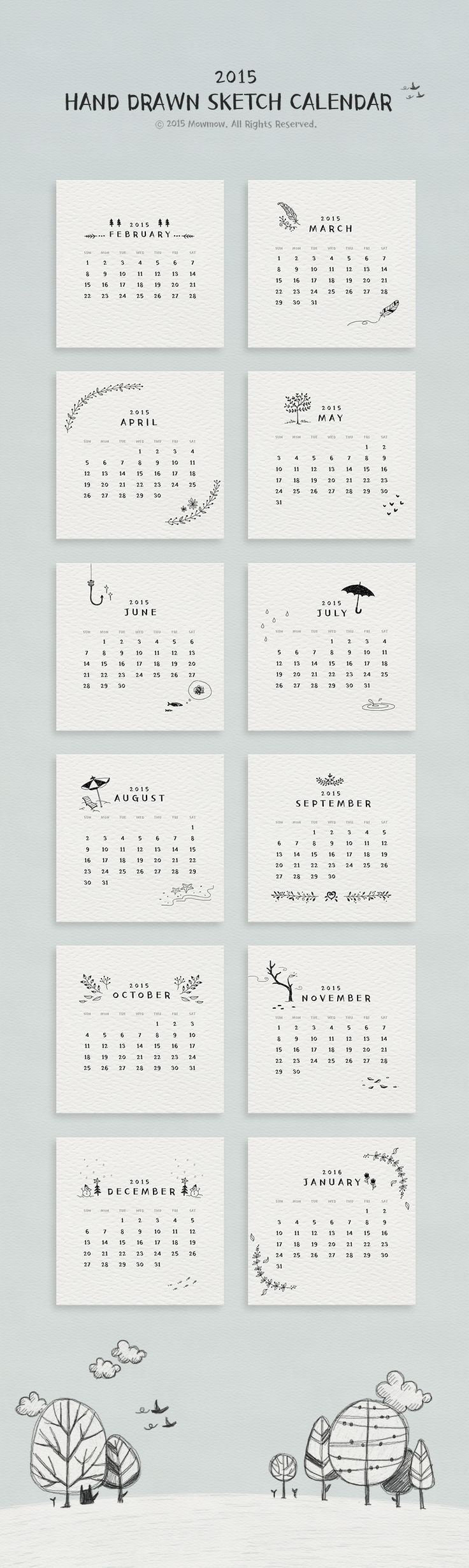 Hand drawn sketch 2015 calendar on Behance