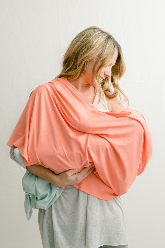 Coral Bamboo Nursing Infinity Scarf / Nursing Cover / Nursing Scarf / Infinite Scarf / Breastfeeding Cover / Organic Women's Clothing / Soft