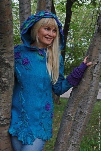 Купить или заказать Куртка валяная Нейтири в интернет-магазине на Ярмарке Мастеров. Души цветочные порывы... обожаемый фильм Аватар и прекрасная Нейтири... любимый темно-бирюзовый цвет - всё вихрем переплелось и как то быстро, на одном дыхании вылилось в такую вот модель куртки.