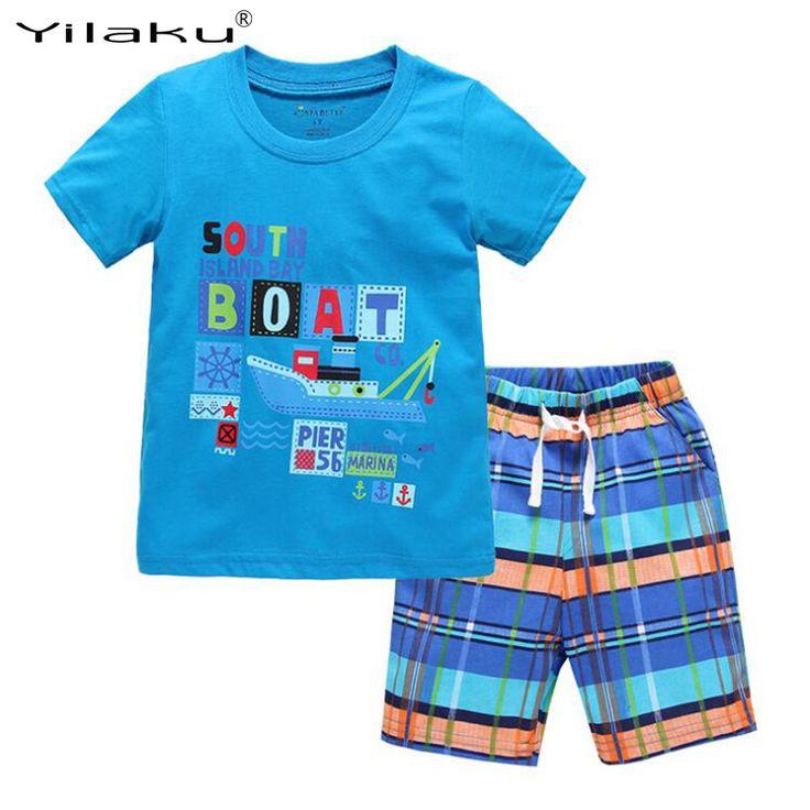 2017 Baru Anak Pakaian Set Musim Panas Kasual Anak Laki-laki Pakaian Set Anak-anak t-shirt + Celana Pendek Olahraga Sesuai untuk Boy Pakaian CF462