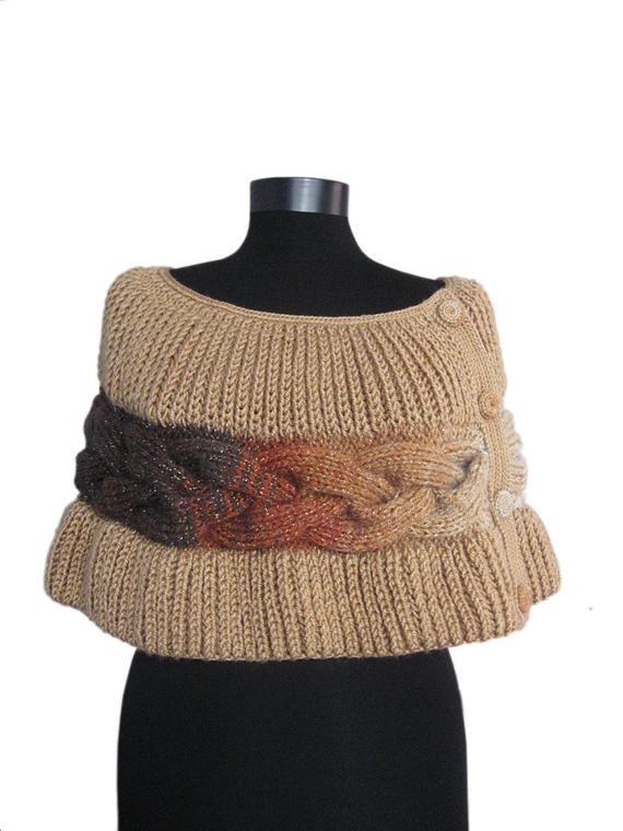 Capa Poncho de punto, punto de la capa, venda accesorios para mujer, ideas de regalo, cable knit poncho, pulso cable rayas, marrón capalet