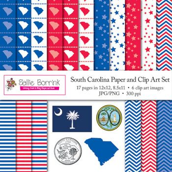 SOUTH CAROLINA Clip Art and Digital Paper with Flag, Seal, Quarter for state history, government, elections, and social studies