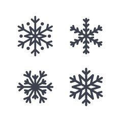 Snowflake icons set. Gray silhouette snowflakes signs, isolated on white background. Flat design. Symbol of winter, snow, Christmas, New Year holiday. Graphic element decoration Vector illustration
