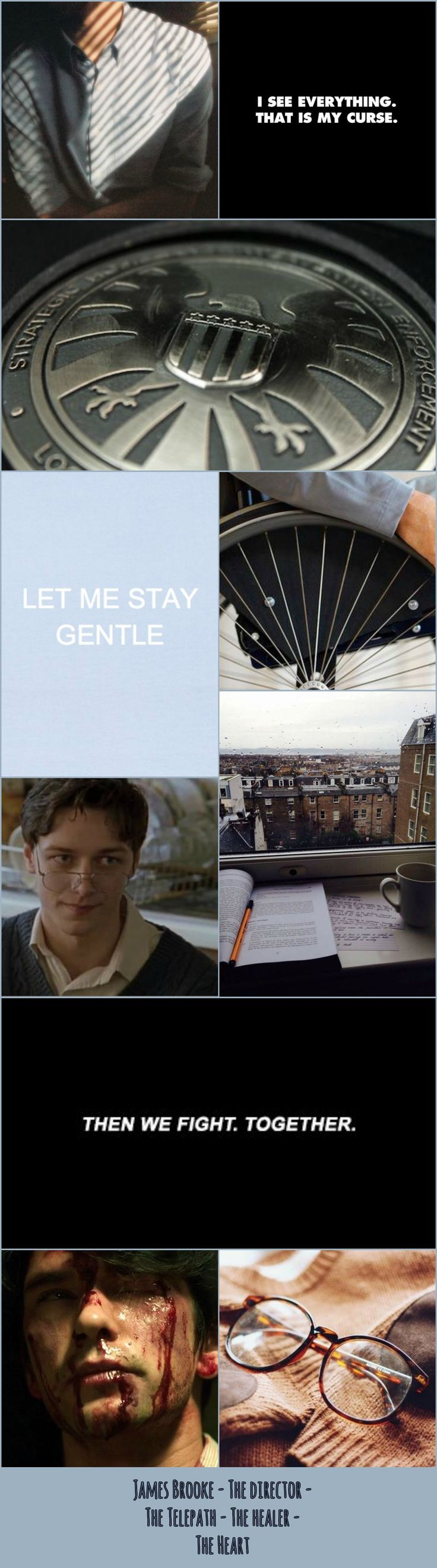 James Brooke collage. OC. Head of SHIELD, telepath, best friend to Sebastian Moran, healing the hearts of many, full of wise words, friend to all. (Collage credit @elizabethshoal. I did not take the pictures.)