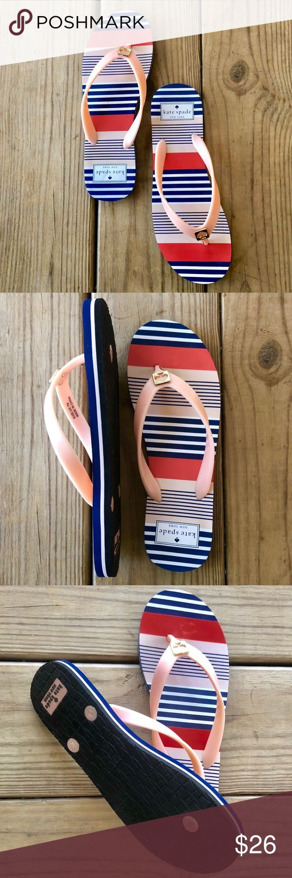 Kate Spade Striped Flip Flops Navy, pink & white flip fiops in great condition. kate spade Shoes Sandals