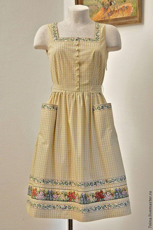 Купить Хлопковый  платье-сарафан для отдыха летом - желтый, в клеточку, натуральный хлопок, летнее платье