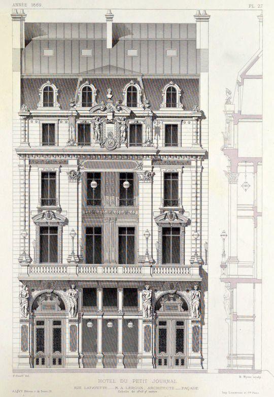 ARCHI / MAPS Elevation of the Petit Journal on Rue Lafayette, Paris