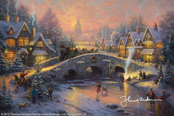 "Spirit of Christmas [2007] ©Thomas Kinkade ""I experience layers of memory as I walk down Spirit of Christmas, the first in my new Christmas series. A wonderful evening mail coach carries trumpet-blowing heralds across the weathered stone bridge. Welcoming lights pour from the windows of the whimsical cottages.         Spirit of Christmas is inspired by the classic holiday icons of image makers like Currier and Ives. I hope it awakens your own deepest memories of the ""season of lights""."""
