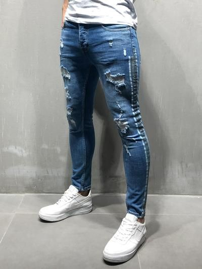 5a09f92aab9c PRODUCT FEATURES: Men's Streetwear Jeans, Blue Jeans, Distressed, Random  Ripped, Stonewashed, Side Stripes, Casual, Skinny Fit, ...