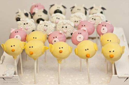 Farm animal cake pops