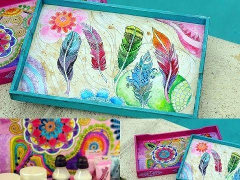 Pintar con Lacas Vitrales al agua - Bandeja de Madera -Transferencia - - YouTube