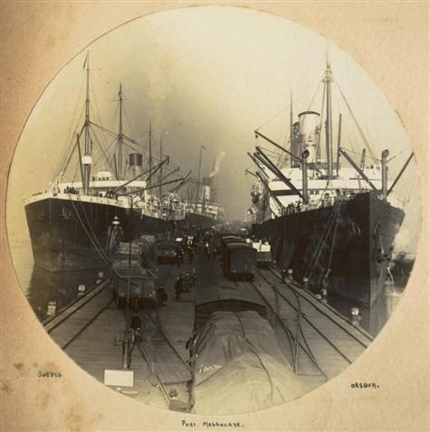 White Star Line, SS 'Suevic' & Orient Line, SS 'Orsova' at Railway Pier, Port Melbourne, circa 1913 Photographer: Stanley Fletcher