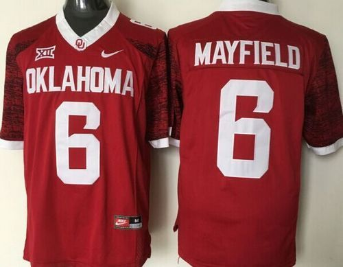 low priced cb338 38638 Sooners #6 Baker Mayfield Red New XII Stitched NCAA Jersey ...