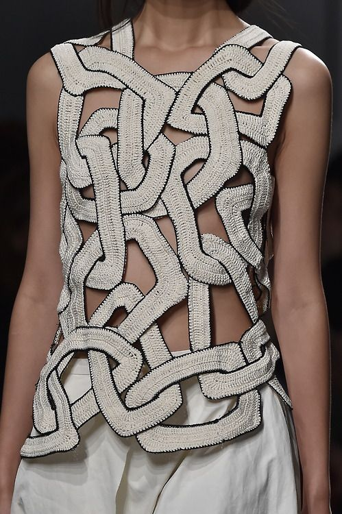Detailing of the knitted chain mail top at the #Christian Wignants #SS15 show. #PFW