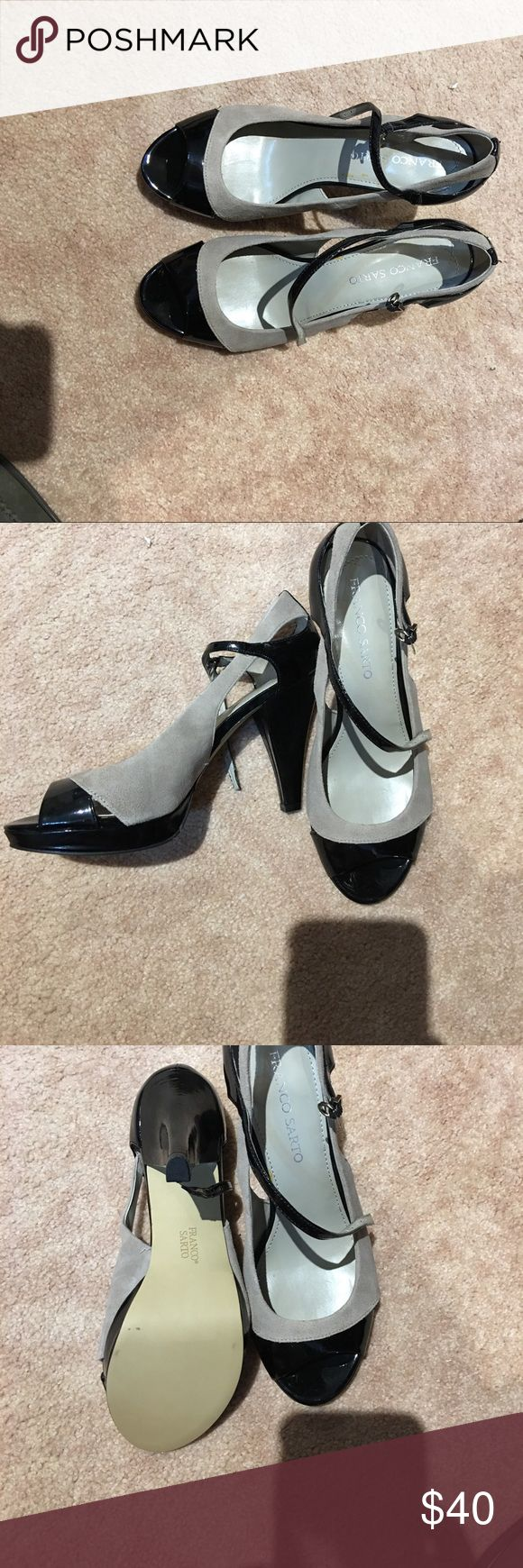 Black and gray Franco Sarto high toeless shoes Size 10 Franco Sarto high heel Black shinny and gray suede shoes Never Worn Franco Sarto Shoes Heels
