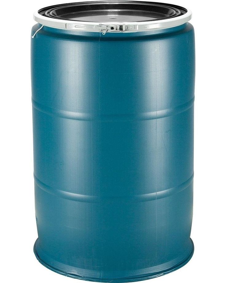 $79.99 each + delivery. 55 gallon open head plastic drums for Sale ONLINE (blue or black). We deliver in the US lower 48 states. Call today, 877-464-7152