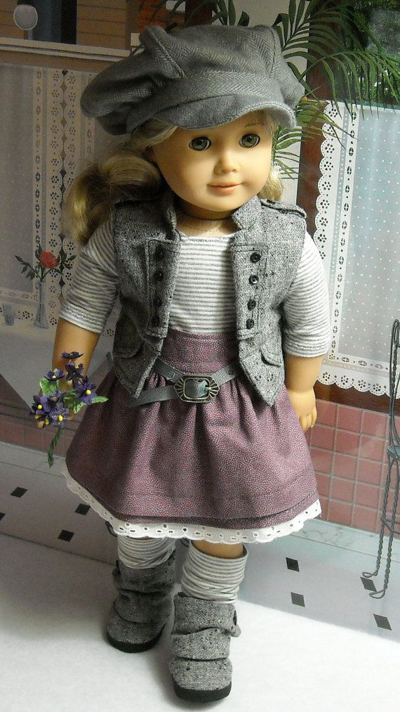 Wool Vest Skirt Tee Outfit for 18 inch by SugarloafDollClothes. Sold 1/3/14 for $55.00. Hat, vest, tee, skirt,belt, leggings and boots. Sweet! :~)