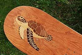 Sea Turtle Marquetry Topsheet on a custom snowboard for a fellow snowboarder in the Netherlands.