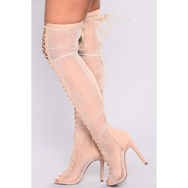 Macey Mesh Heel Boot Nude ❤ liked on Polyvore featuring shoes, boots, zipper boots, nude boots, lace up heeled boots, lace up over the knee boots and above-knee boots