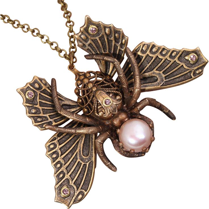 Spider Necklace Butterfly Necklace Moth Spider Necklace Cabinet of  from designsbloom on Ruby Lane