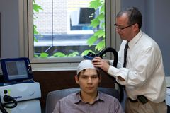 rTMS (repetitive transcranial magnetic stimulation) uses magnetic fields to stimulate part of the brain. Typically, transcranial magnetic stimulation treatment involves a 40-minute session, five days a week, for four to six weeks. Some people need less frequent maintenance treatments afterward.