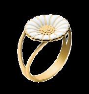 DAISY ring - forgyldt sterling sølv med hvid emalje