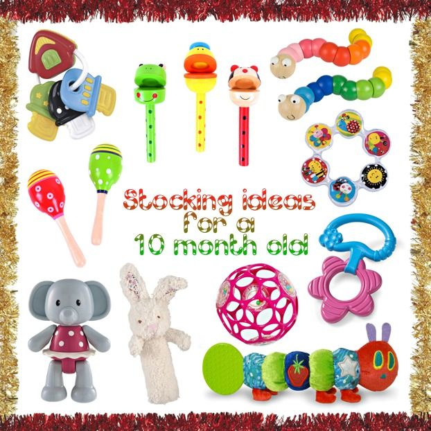 Last week I posted about the contents of Georgie's stocking, and here is what I got for Lydia. Our baby girl will be pretty much 10 months old at Christmas time, so I have tried to find small toys that she will find stimulating, fun and soothing to her poor gums! Most of these are … … Continue reading →