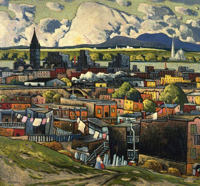 Marc-Aurèle Fortin  Paysage à Hochelaga   v. 1931   huile sur carton fort 80,8 x 85,4 cm Inscription: M.A. FortIN Legs de Vincent Massey, 1968 Musée des beaux-arts du Canada (nº 15475)