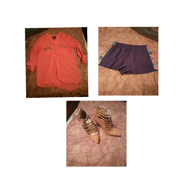 OUTFIT: Coral Shirt, Navy Blue Shorts, Tan/Cognac Strappy Pointy Toe Pumps