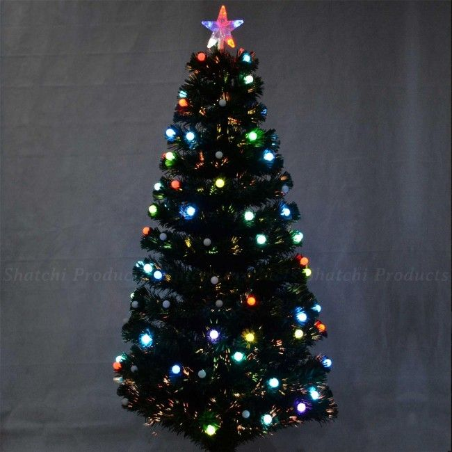 6063 6ft Pre Lit Fibre Optic Christmas Tree With Berry Led